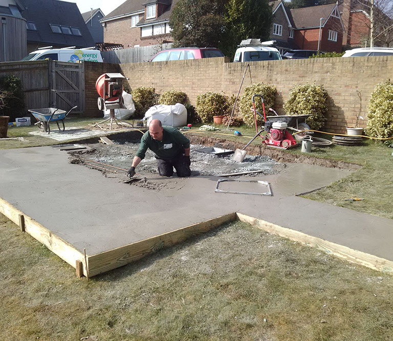 Laying the concrete base